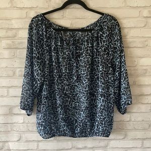 Olivia Moon Made in USA Sheer Blouse Blue Size L